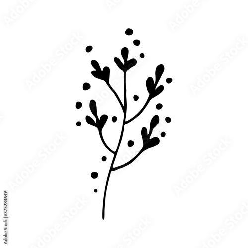 Cute single hand drawn floral elements Wallpaper Mural