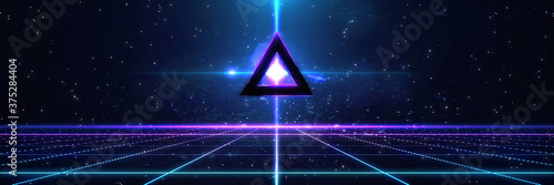 Obraz Retro cyberpunk style 80s Sci-Fi Background Futuristic with laser grid landscape. Digital cyber surface style of the 1980`s. 3D illustration. For banner - fototapety do salonu