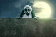 Scary Devil Nun Holding Empty ...