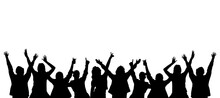Silhouettes Of Crowd Cheering,...