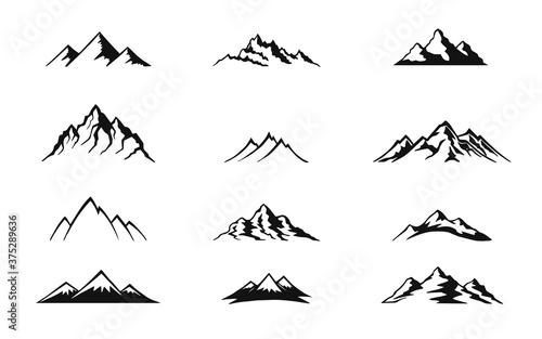 Set of mountain isolated on white background Fotobehang