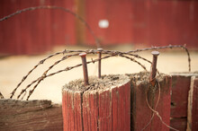 Old Rusty Barbed Wire Detail R...