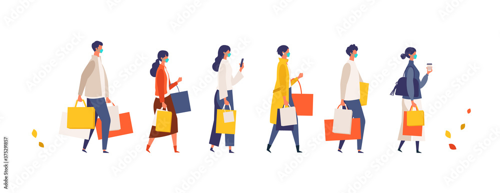 Fototapeta Masked people carrying shopping bags at autumn. Man and woman taking part in seasonal sale at store, shop, mall on new normal lifestyle.