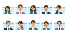 Smiling People In Virtual Window Frames. Vector Illustration Of People Having Communication Via Telecommuting System.