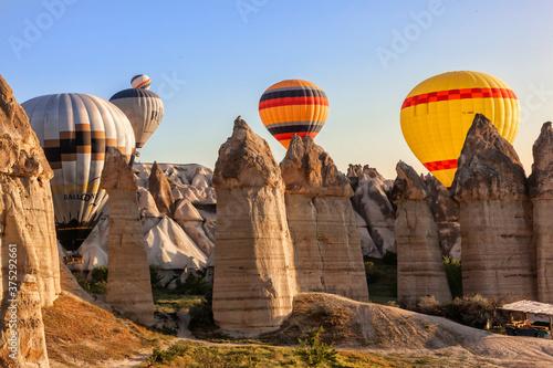 Obraz na plátně Flying balloons over unbelievable Love valley, Cappadocia, Turkey