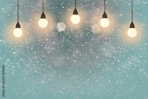 Fotografia, Obraz light blue wonderful shiny glitter lights defocused light bulbs bokeh abstract b