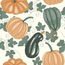 Seamless Pattern With Pumpkins...