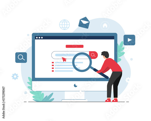 Fotografiet Search engine concept with people holding magnifying glass illustration