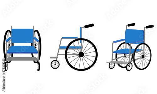 Fotografiet 車椅子のイラスト(正面、横、斜め)/Wheelchair illustration (front, side, diagonal)
