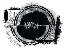 Poster Template With Place For Text And Dry Black Paint Brush Stroke . Title Box . Grunge Banner . Vector Design .
