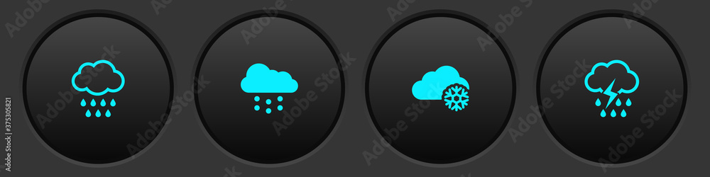 Fototapeta Set Cloud with rain, snow, and and lightning icon. Vector.