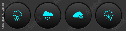 Obraz Set Cloud with rain, snow, and and lightning icon. Vector. - fototapety do salonu