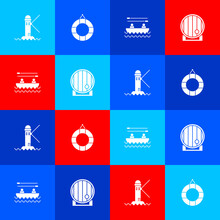 Set Lighthouse, Lifebuoy, Boat With Oars And Wooden Barrel Icon. Vector.