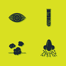 Set Reddish Eye Allergic Conjunctivitis, Runny Nose, Dust And Test Tube And Flask Icon. Vector.