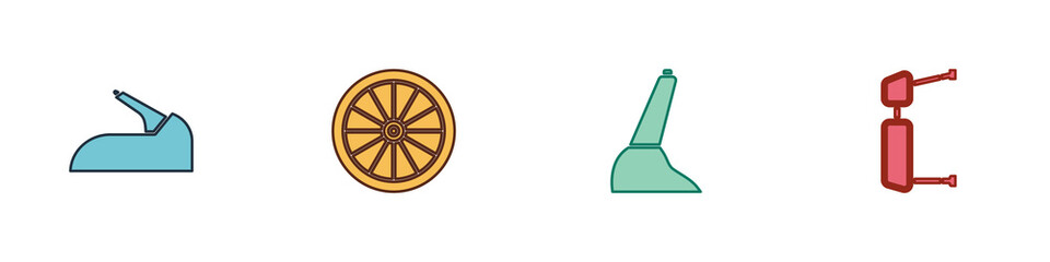 Set Car handbrake, wheel, and Truck side mirror icon. Vector.