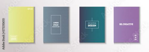 Fotografia, Obraz Folded Minimal Cover Vector Set. 80s Neon Music Poster. Textured