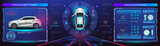 Car service. Holographic digital interface. Dashboard, characteristics, description of the car. Futuristic car interface for website or video games. Realistic car in 3D space holographic interface wit