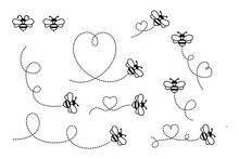Cartoon Bee Flying On A Heart Shaped Dotted Route