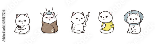 Obraz na plátně 病気の猫のイラストレーションセット