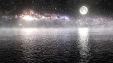 Night Sky Full Moon Milky Way Galaxy Stars Reflection On Calm Water - Abstract Background Texture