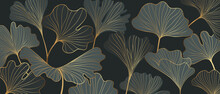 Golden Ginkgo Leaves Backgroun...