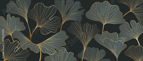 Billede på lærred Golden Ginkgo leaves background vector