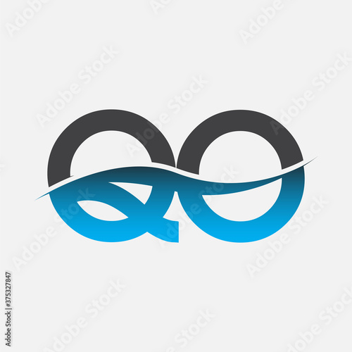 initial letter logo QO company name blue and grey color swoosh design Canvas Print