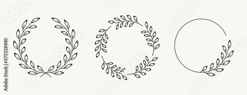 Set of laurel wreath design elements Canvas