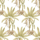 Watercolor seamless pattern with tropical monkey and palm trees. Banana palm, capuchin. Gently  background with wildlife jungle elements. Aesthetic vintage wallpaper, wrapping, textile - 375332641