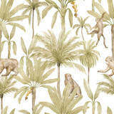 Watercolor seamless pattern with tropical monkey and palm trees. Banana palm, capuchin. Gently  background with wildlife jungle elements. Aesthetic vintage wallpaper, wrapping, textile - 375333044