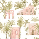 Watercolor seamless pattern with pink arch and tropical palm tree. Moroccan background with urban jungle elements. Aesthetic North African architecture and nature. Vintage wallpaper, wrapping, textile - 375333073