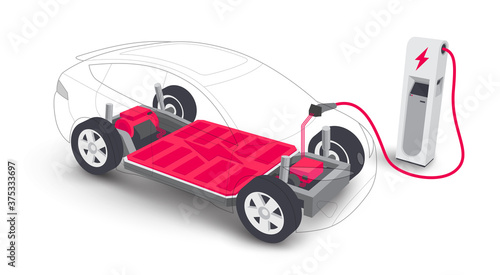 Fototapeta Electric car charging battery modular platform board scheme charger station. Electric skateboard module chassis components battery pack, motor powertrain, controller. Isolated vector illustration. obraz