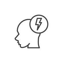 Head With Lightning Line Icon....