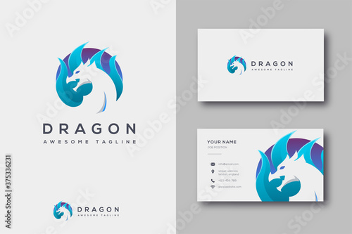 Modern flame and dragon logo icon vector template on white background
