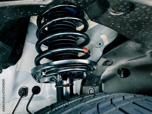 shock absorber strut with coil spring, suspension system of modern car Wallpaper Mural