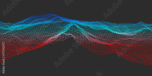 Fotografía Reduced and graphic view of a colorful mountainous landscape - 3d illustration