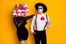 Portrait Of His He Her She Glamorous Elegant Chic Gorgeous Couple Wearing Calavera Clothes Look Outfit Posing Enjoying Event Isolated Bright Vivid Shine Vibrant Yellow Color Background