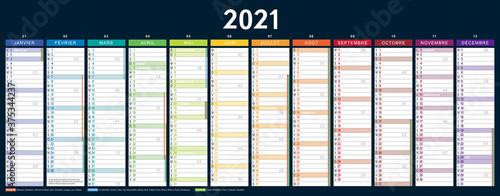 Obraz CALENDRIER 2021 français vectorisé, vierge (535x210mm recto) jours fériés, vacances, 11 calques, Ech.1 - fototapety do salonu