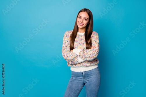 Fotografija Photo of beautiful lady self-confident good mood perfect long straight hairdo ar