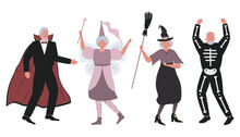 Halloween Party. Elderly People In Halloween Costumes Are Dancing And Having Fun. There Is A Witch, A Vampire, A Fairy And A Skeleton In The Image. Vector Illustration