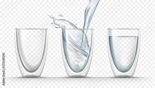 Empty glass cup, full one and pouring fresh water into realistic glass isolated on transparent background Canvas
