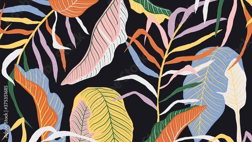 Fototapeta Luxury golden art deco wallpaper. Nature background vector. Floral pattern with golden split-leaf Philodendron plant with monstera plant line art on dark color background. Vector illustration. obraz