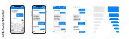 Foto Smartphone chatting sms template bubbles, SMS chat composer, place your own text