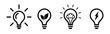 Set of light bulb icons in flat style on white background, idea flat vector illustration, icons for design, website.