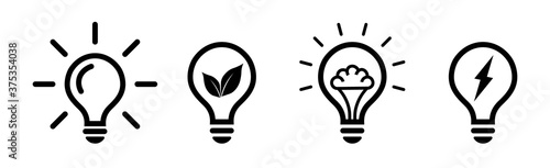 Obraz Set of light bulb icons in flat style on white background, idea flat vector illustration, icons for design, website. - fototapety do salonu