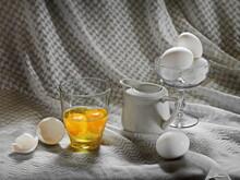 Broken Chicken Eggs. Still Life