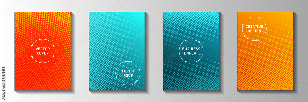 Fototapeta Random point faded screen tone front page templates vector series. Scientific catalog perforated