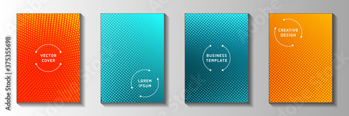 Fotomural Random point faded screen tone front page templates vector series
