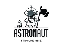 Astronaut Holding A Flag With ...