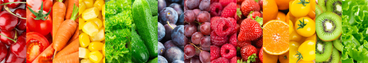Background of fruits, vegetables and berries. Fresh food. Healthy food